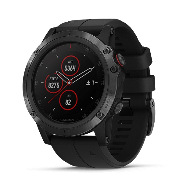 GPS & Sportuhren Sportuhr Garmin fenix 5 Plus Glass Silver/Black NEU