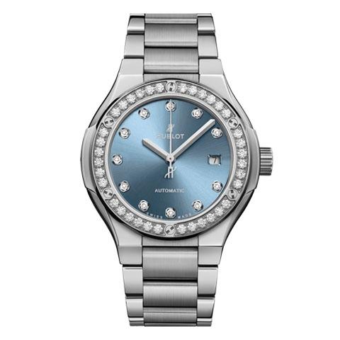 ウブロ HUBLOT クラシック・フュージョン チタニウム ライトブルー ダイヤモンド ブレスレット 585.NX.897L.NX.1204