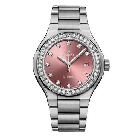ウブロ HUBLOT クラシック・フュージョン チタニウム ピンク ダイヤモンド ブレスレット 585.NX.897P.NX.1204